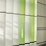 Lamellenvorhang weiß und grün aus MADOCA, unzerreißbares Japanpapier