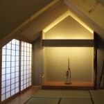 japanisches SamuraiZimmer mit Tokonoma, Tatami, Shoji